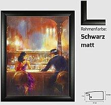 Kunstdruck ALVAREZ - After Midnight II In der Bar Mann und Frau gemalt 40 x 50 cm mit MDF-Bilderrahmen Pisa & Acrylglas reflexfrei, viele Farben zur Auswahl, hier Schwarz ma