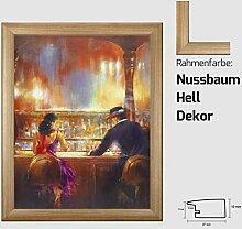 Kunstdruck ALVAREZ - After Midnight II In der Bar Mann und Frau gemalt 40 x 50 cm mit MDF-Bilderrahmen Pisa & Acrylglas reflexfrei, viele Farben zur Auswahl, hier Nussbaum Hell Dekor