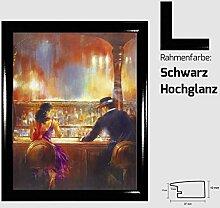 Kunstdruck ALVAREZ - After Midnight II In der Bar Mann und Frau gemalt 40 x 50 cm mit MDF-Bilderrahmen Pisa & Acrylglas reflexfrei, viele Farben zur Auswahl, hier Schwarz Hochglanz