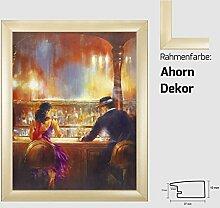 Kunstdruck ALVAREZ - After Midnight II In der Bar Mann und Frau gemalt 40 x 50 cm mit MDF-Bilderrahmen Pisa & Acrylglas reflexfrei, viele Farben zur Auswahl, hier Ahorn Dekor