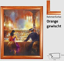 Kunstdruck ALVAREZ - After Midnight II In der Bar Mann und Frau gemalt 40 x 50 cm mit MDF-Bilderrahmen Pisa & Acrylglas reflexfrei, viele Farben zur Auswahl, hier Orange gewisch