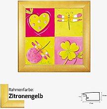 """Kunstdruck FAŸS - Le jardin de libellule I """"Garten der Libellen l"""" Bild in Pink,- Rosa und Grün/Gelb Tönen mit verschiedenen Mustern 30 x 30 cm mit MDF-Bilderrahmen Pisa & Acrylglas reflexfrei, viele Farben zur Auswahl, hier Zitronengelb"""