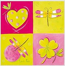 """Kunstdruck FAŸS - Le jardin de libellule I """"Garten der Libellen l"""" Bild in Pink,- Rosa und Grün/Gelb Tönen mit verschiedenen Mustern 30 x 30 cm ohne Rahmen"""
