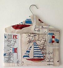 Kunstdruck mit nautischem Design blau rot BEIGE Wallet Loch HANDMADE Wäscheklammerbeutel