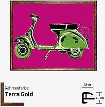 Kunstdruck TELL - Vespa on Pink grünes Mofa Moped