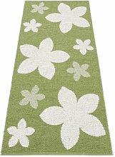Kunstfaser Outdoor Teppich für Haus und Garten, waschbar. Design: HORREDSMATTAN FLOWER grün 150x100 cm