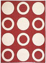 Kunstfaser Outdoor Teppich für Haus und Garten, waschbar. Design: HORREDSMATTAN CIRCLE rot 70 x 200 cm