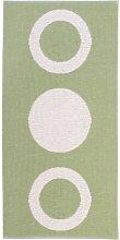 Kunstfaser Outdoor Teppich für Haus und Garten, waschbar. Design: HORREDSMATTAN CIRCLE olivgrün 150 x 250 cm