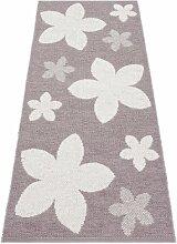 Kunstfaser Outdoor Teppich für Haus und Garten, waschbar. Design: HORREDSMATTAN FLOWER flieder 150x150 cm