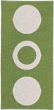 Kunstfaser Outdoor Teppich für Haus und Garten, waschbar. Design: HORREDSMATTAN CIRCLE grün 70 x 200 cm