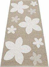 Kunstfaser Outdoor Teppich für Haus und Garten, waschbar. Design: HORREDSMATTAN FLOWER beige 150x250 cm