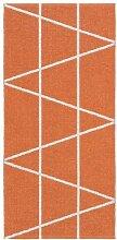 Kunstfaser Outdoor Teppich für Haus und Garten, waschbar. Design: HORREDSMATTAN ZACKEN orange 150 x 150 cm