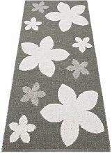 Kunstfaser Outdoor Teppich für Haus und Garten, waschbar. Design: HORREDSMATTAN FLOWER grau 70x250 cm