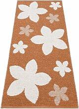 Kunstfaser Outdoor Teppich für Haus und Garten, waschbar. Design: HORREDSMATTAN FLOWER rost 70x150 cm