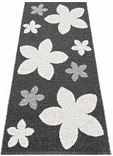Kunstfaser Outdoor Teppich für Haus und Garten, waschbar. Design: HORREDSMATTAN FLOWER schwarz 70x350 cm