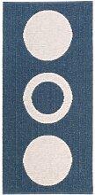 Kunstfaser Outdoor Teppich für Haus und Garten, waschbar. Design: HORREDSMATTAN CIRCLE blau 70 x 200 cm