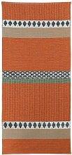 Kunstfaser Outdoor Teppich für Haus und Garten, waschbar. Design: HORREDSMATTAN SAVANNE orange 70 x 300 cm