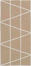 Kunstfaser Outdoor Teppich für Haus und Garten, waschbar. Design: HORREDSMATTAN ZACKEN beige 70 x 250 cm