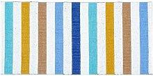 Kunstfaser Outdoor Teppich für Haus und Garten, waschbar. Design: HORREDSMATTAN HAPPY blau150 x 100 cm