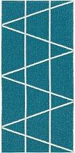 Kunstfaser Outdoor Teppich für Haus und Garten, waschbar. Design: HORREDSMATTAN ZACKEN blau 70 x 100 cm