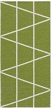 Kunstfaser Outdoor Teppich für Haus und Garten, waschbar. Design: HORREDSMATTAN ZACKEN grün 70 x 200 cm