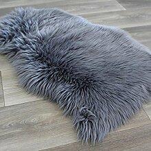 Kunstfell Schaffell Teppich Imitat ca. 55x80 cm Bettvorleger Felldecke Dunkelgrau