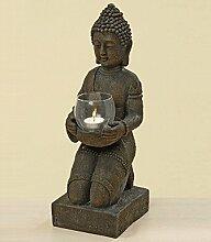 Kunstharz-Buddha Figur mit Windlicht 44 cm hoch,