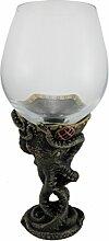 Kunstharz und Glas Weingläser Bronze Finish