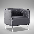 Kunstleder Sessel in Schwarz Retro