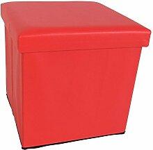Kunstleder Sitzwürfel mit Stauraum 8 Farben Sitzhocker Fußhocker Aufbewahrung (rot)