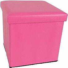 Kunstleder Sitzwürfel mit Stauraum 8 Farben Sitzhocker Fußhocker Aufbewahrung (pink)