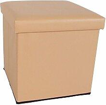 Kunstleder Sitzwürfel mit Stauraum 8 Farben Sitzhocker Fußhocker Aufbewahrung (beige)