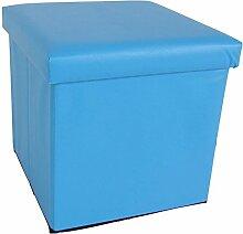 Kunstleder Sitzwürfel mit Stauraum 8 Farben Sitzhocker Fußhocker Aufbewahrung (blau)
