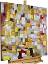 KUNSTLOFT Gemälde Flickenteppich in Pastell,