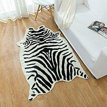 Kunstpelz ZebraMuster Teppich, iCasso Tier Serie, Kunstfell Teppich mit Kuhfell Muster / Teppich / Teppich für Heimtextilien, verschiedene Größen (90 x 135 cm)