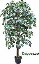 Kunstpflanze Künstliche Pflanze Kunstlicher Baum Kunstbaum mit Echtholz 125cm Decovego