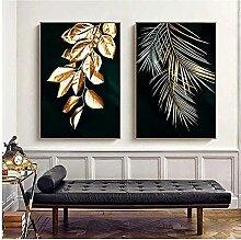 Kunstplakat Abstrakt Goldene Pflanze Blätter Bild