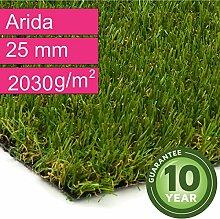 Kunstrasen Rasenteppich Arida für Garten - Florhöhe 25 mm - Gewicht ca. 2030 g/m² - UV-Garantie 10 Jahre (DIN 53387) - 4,00 m x 2,00 m | Rollrasen | Kunststoffrasen