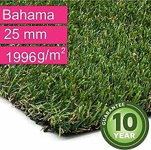 Kunstrasen Rasenteppich Bahama für Garten - Florhöhe 25 mm - Gewicht ca. 1996 g/m² - UV-Garantie 10 Jahre (DIN 53387) - 4,00 m x 8,50 m | Rollrasen | Kunststoffrasen