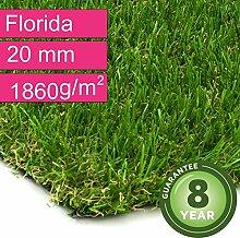 Kunstrasen Rasenteppich Florida für Garten - Florhöhe 20 mm - Gewicht ca. 1860 g/m² - UV-Garantie 8 Jahre (DIN 53387) - 4,00 m x 1,00 m | Rollrasen | Kunststoffrasen