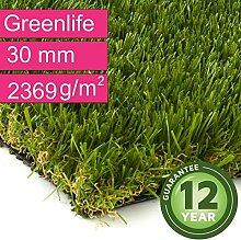 Kunstrasen Rasenteppich Greenlife für Garten - Florhöhe 30 mm - Gewicht ca. 2369 g/m² - UV-Garantie 12 Jahre (DIN 53387) - 2,00 m x 6,50 m | Rollrasen | Kunststoffrasen