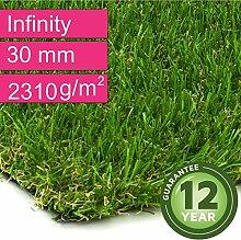 Kunstrasen Rasenteppich Infinity für Garten - Florhöhe 30 mm - Gewicht ca. 2310 g/m² - UV-Garantie 12 Jahre (DIN 53387) - 2,00 m x 4,00 m | Rollrasen | Kunststoffrasen