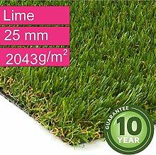 Kunstrasen Rasenteppich Lime für Garten - Florhöhe 25 mm - Gewicht ca. 2043 g/m² - UV-Garantie 10 Jahre (DIN 53387) - 4,00 m x 10,00 m | Rollrasen | Kunststoffrasen