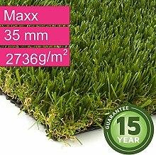 Kunstrasen Rasenteppich Maxx für Garten - Florhöhe 35 mm - Gewicht ca. 2736 g/m² - UV-Garantie 12 Jahre (DIN 53387) - 4,00 m x 7,00 m | Rollrasen | Kunststoffrasen