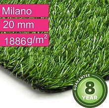 Kunstrasen Rasenteppich Milano für Garten - Florhöhe 20 mm - Gewicht ca. 1886 g/m² - UV-Garantie 8 Jahre (DIN 53387) - 4,00 m x 6,50 m | Rollrasen | Kunststoffrasen