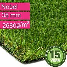 Kunstrasen Rasenteppich Nobel für Garten - Florhöhe 35 mm - Gewicht ca. 2680 g/m² - UV-Garantie 12 Jahre (DIN 53387) - 4,00 m x 7,50 m | Rollrasen | Kunststoffrasen