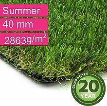 Kunstrasen Rasenteppich Summer für Garten - Florhöhe 40 mm - Gewicht ca. 2863 g/m² - UV-Garantie 20 Jahre (DIN 53387) - 2,00 m x 7,00 m | Rollrasen | Kunststoffrasen