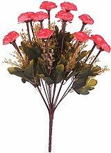 Kunstseide 14-Kopf Künstlichen Blume Nelke Pflanze Blumen Dekor - Rose Red, 43cm