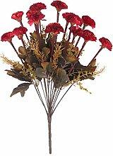 Kunstseide 14-Kopf Künstlichen Blume Nelke Pflanze Blumen Dekor - Weinrot, 43cm