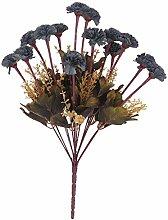 Kunstseide 14-Kopf Künstlichen Blume Nelke Pflanze Blumen Dekor - Blau, 43cm